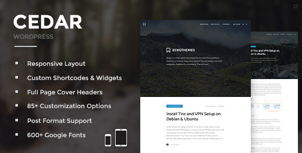 Cedar – Responsive WordPress Blog Theme