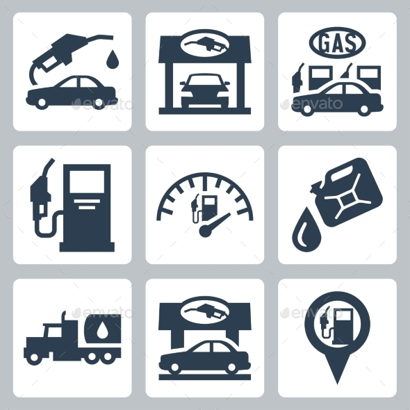 Vector Gas Station Icons Set By Greyj Graphicriver