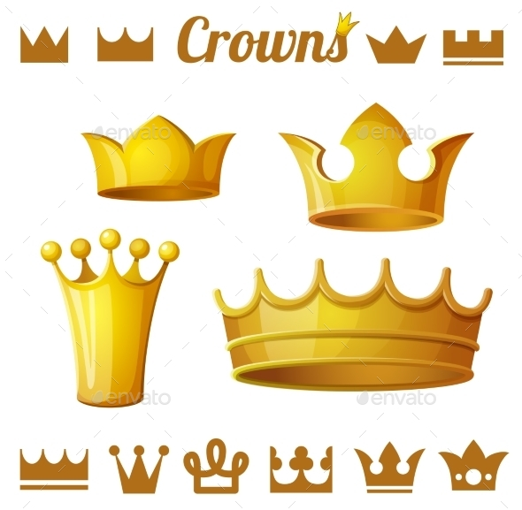 Set 2 Of Royal Gold Crowns By Annzabella Graphicriver Polish your personal project or design with these cartoon crown transparent png images, make it even more personalized and more attractive. set 2 of royal gold crowns