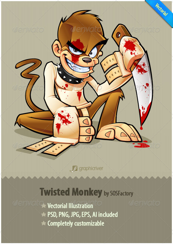 Twisted Monkey mascot design - Characters Vectors