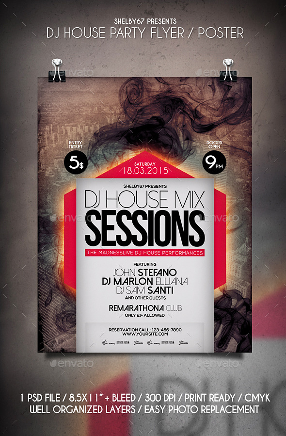 DJ House Party Flyer / Poster - Events Flyers