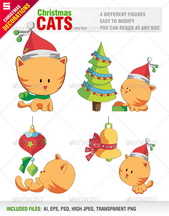 Cute Cats with Christmas Objects - Christmas Seasons/Holidays