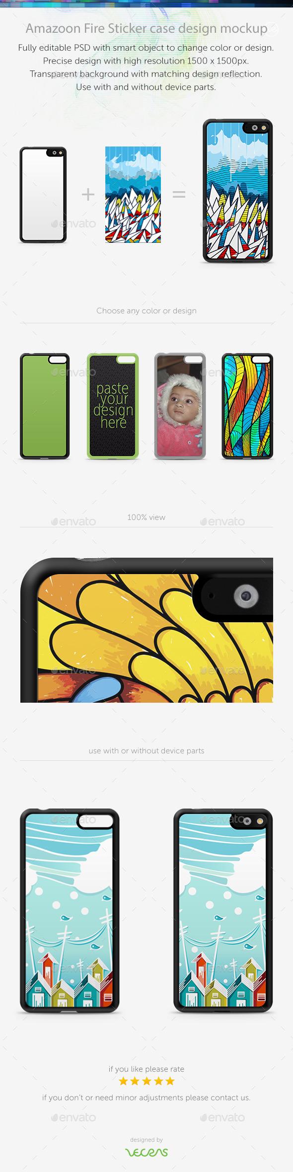 Amazoon Fire Sticker Case Design Mockup