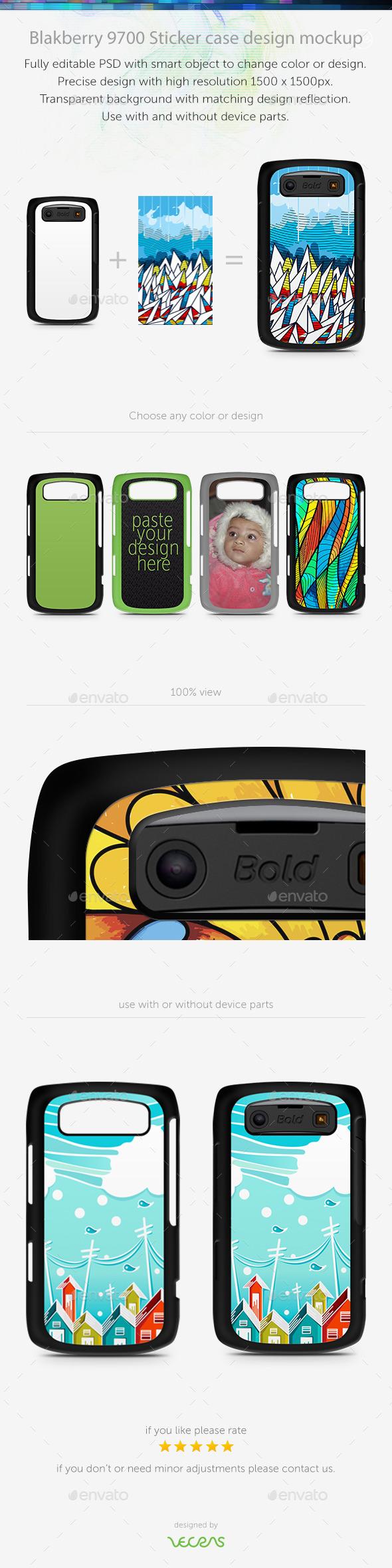 Blakberry 9700 Sticker Case Design Mockup