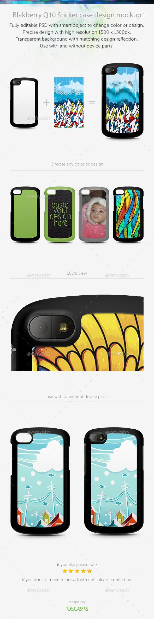 Blakberry Q10 Sticker Case Design Mockup