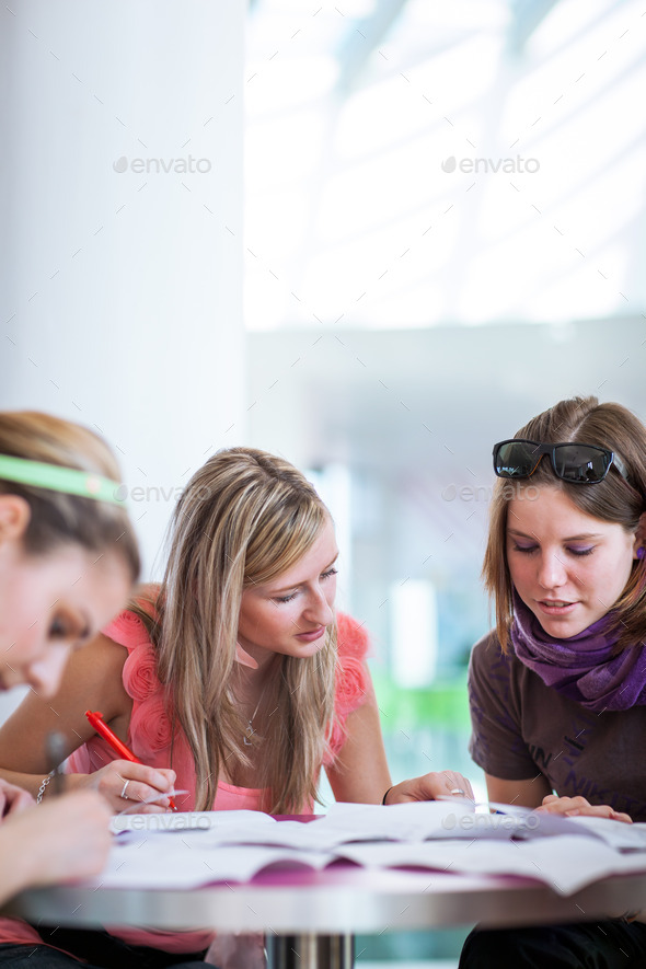 Group of college/university students during a brake between clas - Stock Photo - Images