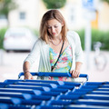 Beautiful young woman going shopping for groceries (color toned - PhotoDune Item for Sale