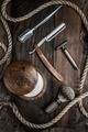 Shaving accessories on a luxury wooden background - PhotoDune Item for Sale