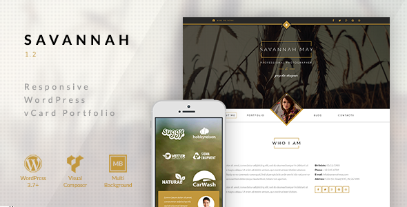 Savannah – Responsive WordPress vCard Portfolio
