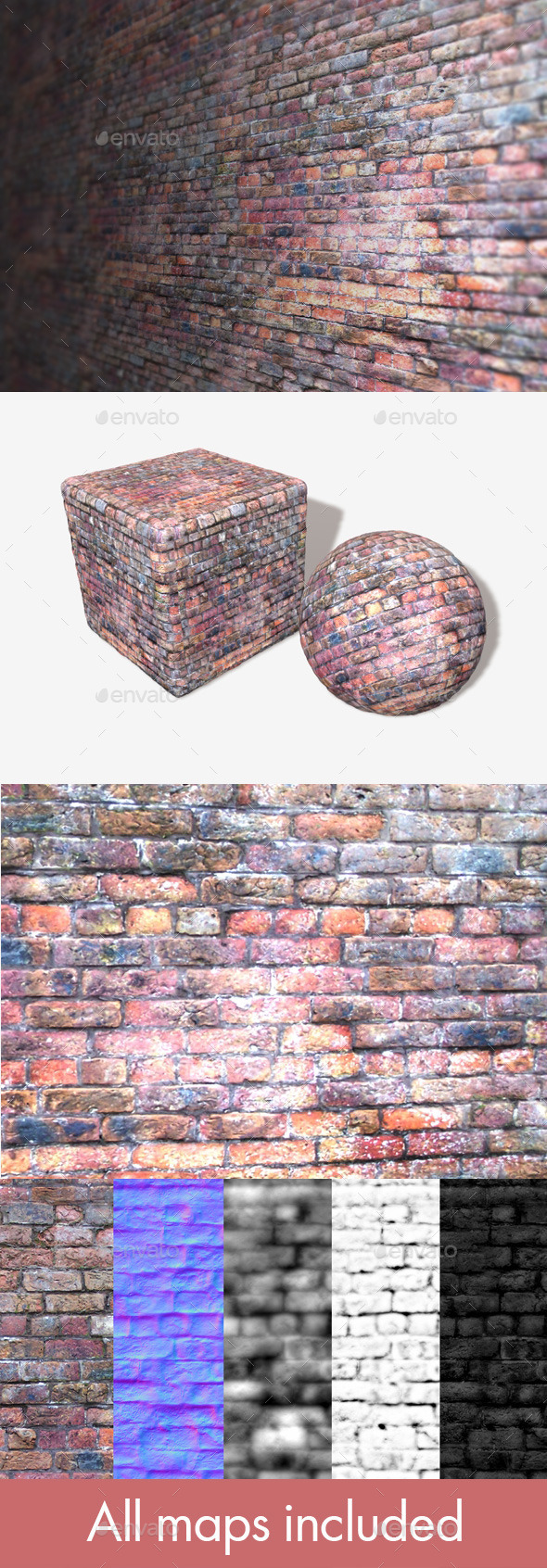 Old Purple Bricks Seamless Texture - 3DOcean Item for Sale
