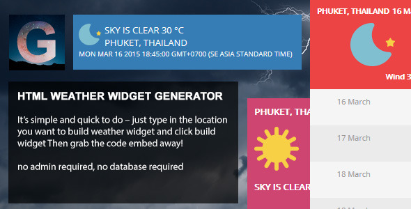 HTML - Weather Widget Generator - CodeCanyon Item for Sale