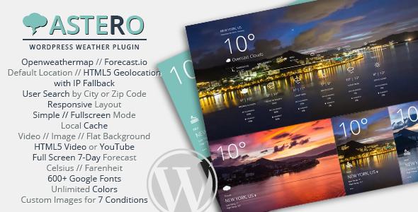 Astero WordPress Weather Plugin - CodeCanyon Item for Sale