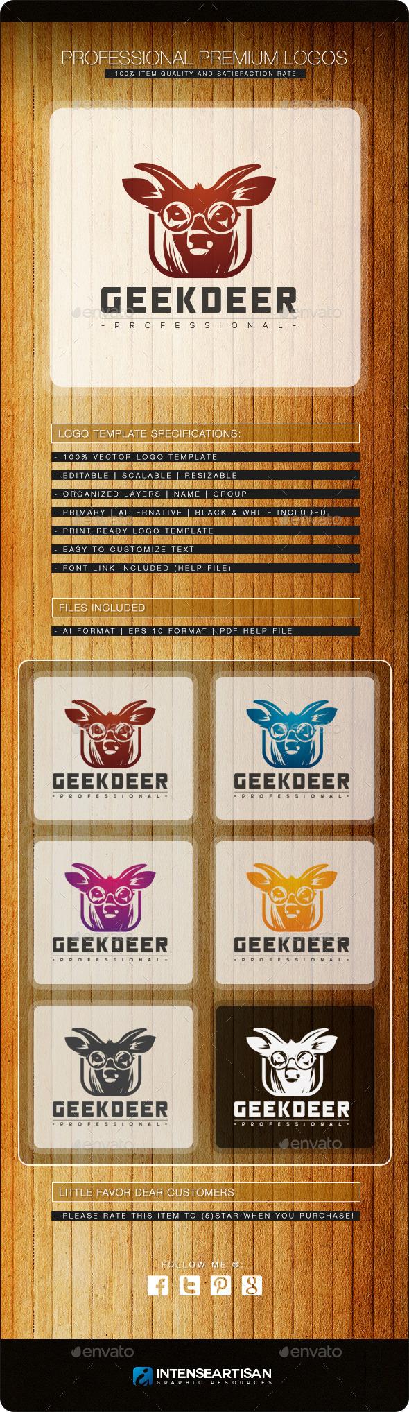 Geek Deer Logo Template - Animals Logo Templates