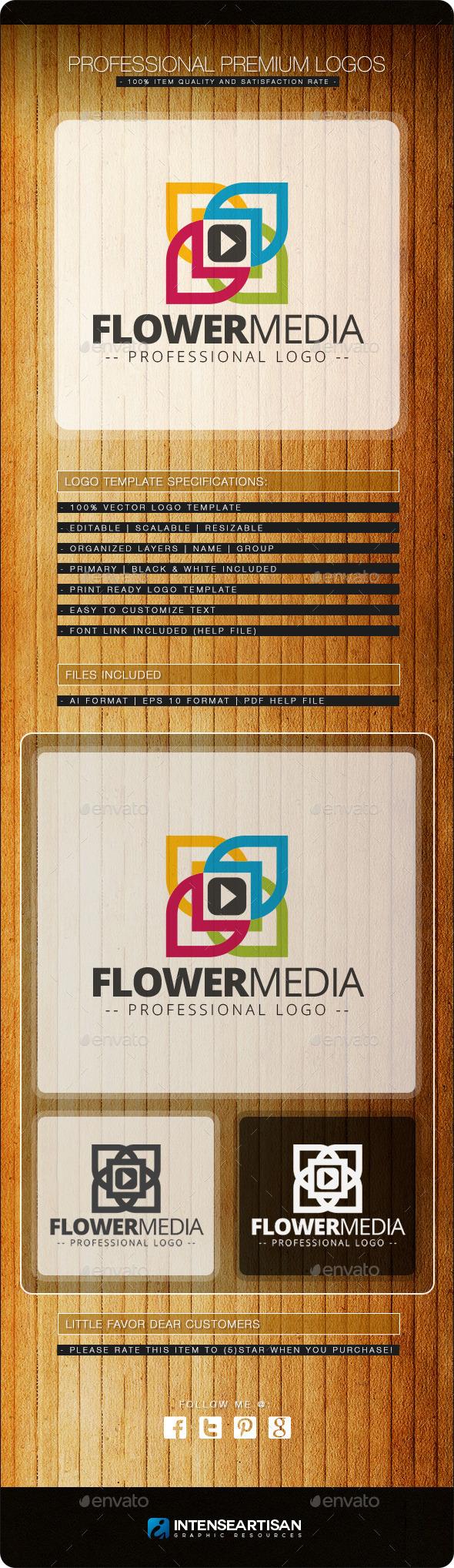 Flower Media Logo Template - Nature Logo Templates