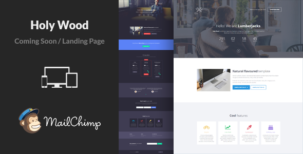 holy wood responsive coming soon template by lumberjacks themeforest. Black Bedroom Furniture Sets. Home Design Ideas