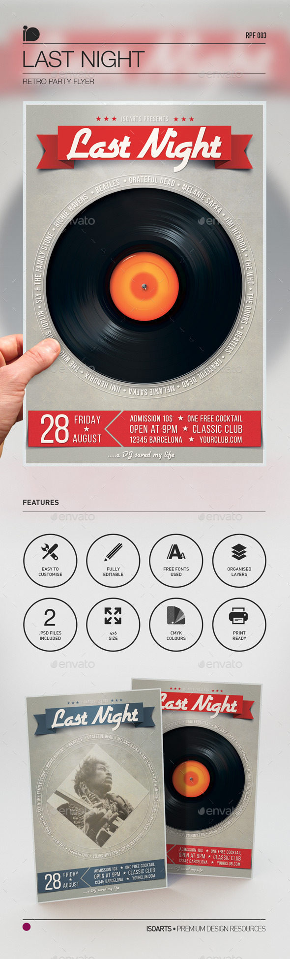 Retro Party Flyer • Last Night - Clubs & Parties Events