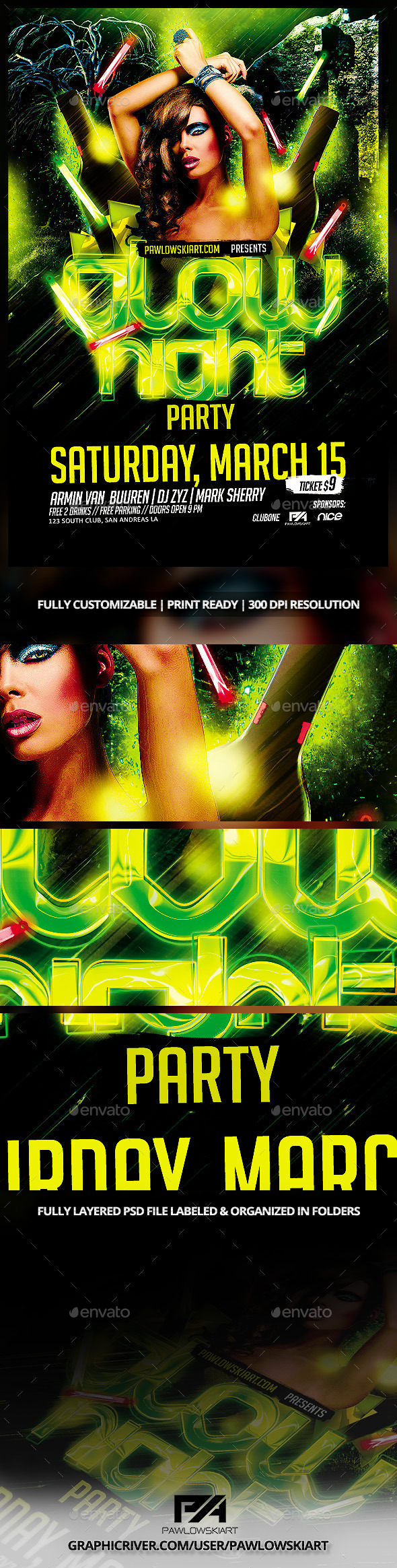 Glow Night Party Flyer Template - Clubs & Parties Events