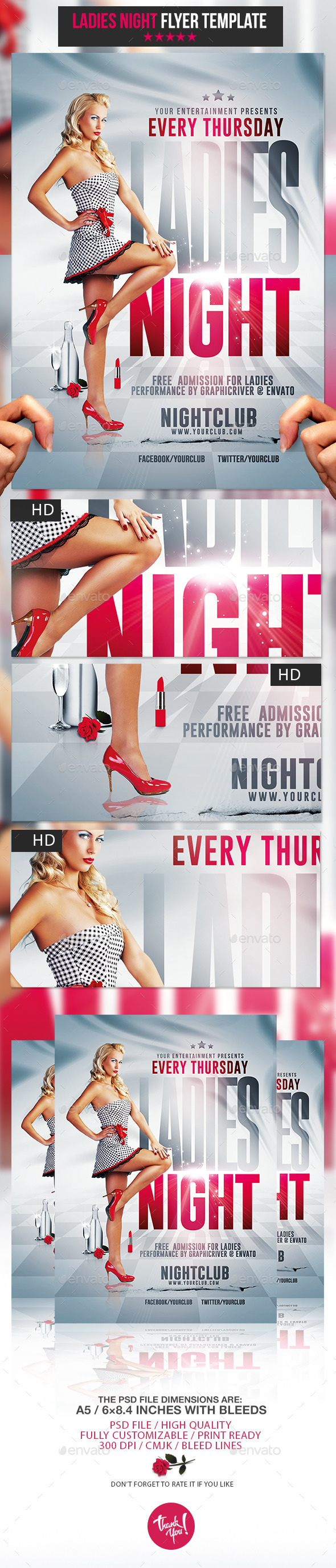 Ladies Night Party | Psd Flyer Template - Clubs & Parties Events