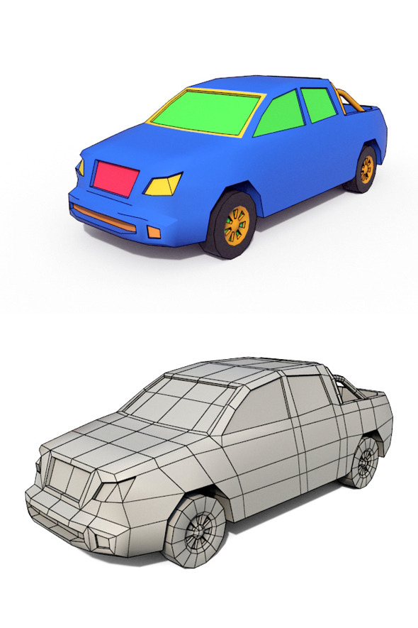 Low Poly Cartoon Car 4 - 3DOcean Item for Sale