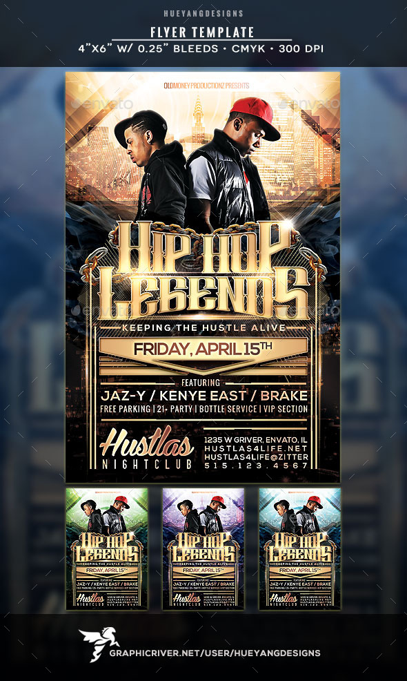 Hip Hop Legends Flyer - Clubs & Parties Events