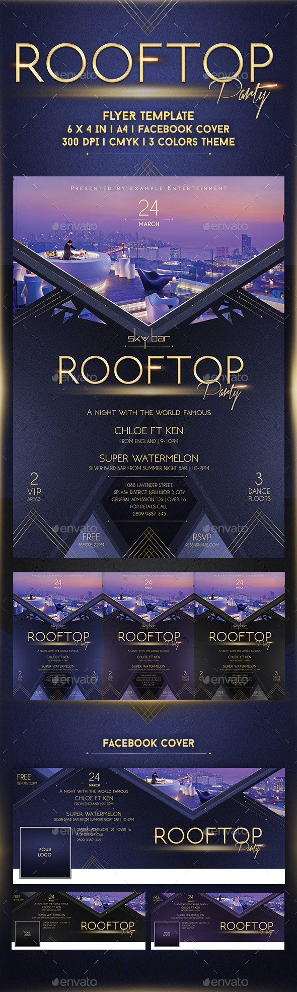 Rooftop Party Flyer Template - Clubs & Parties Events