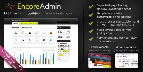 Free Download EncoreAdmin - Light, Fast & Flexible Admin Skin Nulled Latest Version