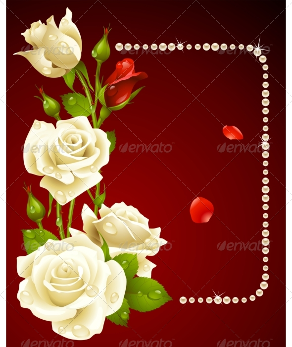 Vector white rose and pearls frame. - Seasons/Holidays Conceptual