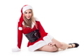 Portrait Of Young Woman In Santa Costume Over White Background - PhotoDune Item for Sale