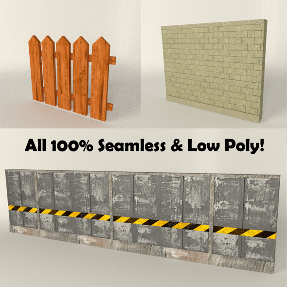 Fence/Wall Seamless Set (low poly) - 3DOcean Item for Sale