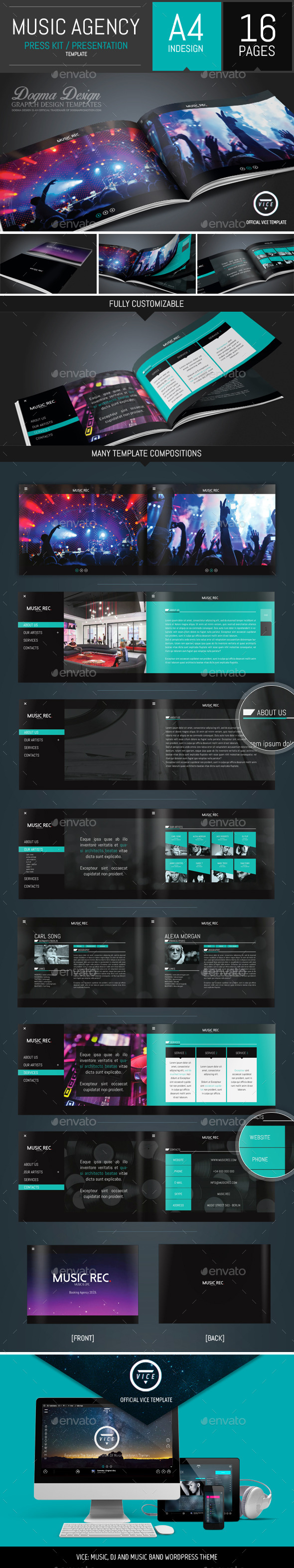 Vice: Dj and Booking Agency Portfolio Brochure - Brochures Print Templates