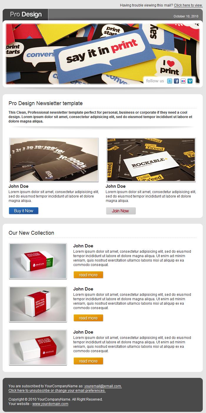 Pro Design Newsletter Template By Elieli ThemeForest - Web design newsletter template