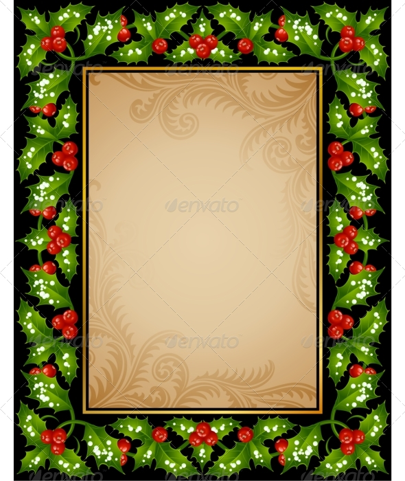 Holly frame - Christmas Seasons/Holidays