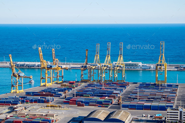 View of the Barcelona harbour - Stock Photo - Images