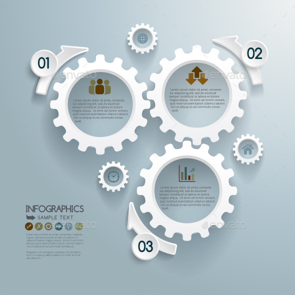 Cogwheels Infographic Concept Background - Infographics