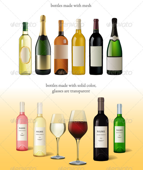 Wine bottles and glasses - Food Objects