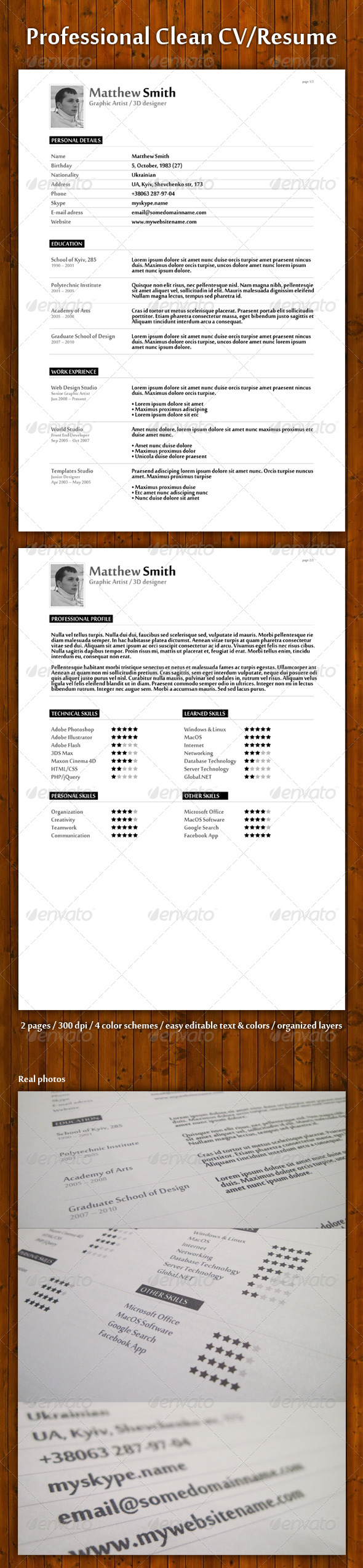 Professional Clean Resume/CV - Resumes Stationery