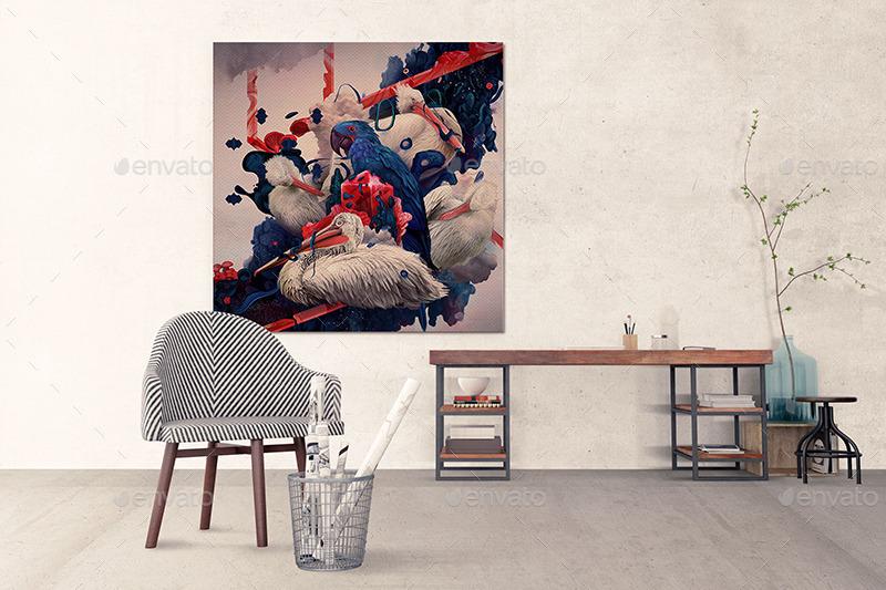 01 Art Wall Mockups Interior Work Desk V2