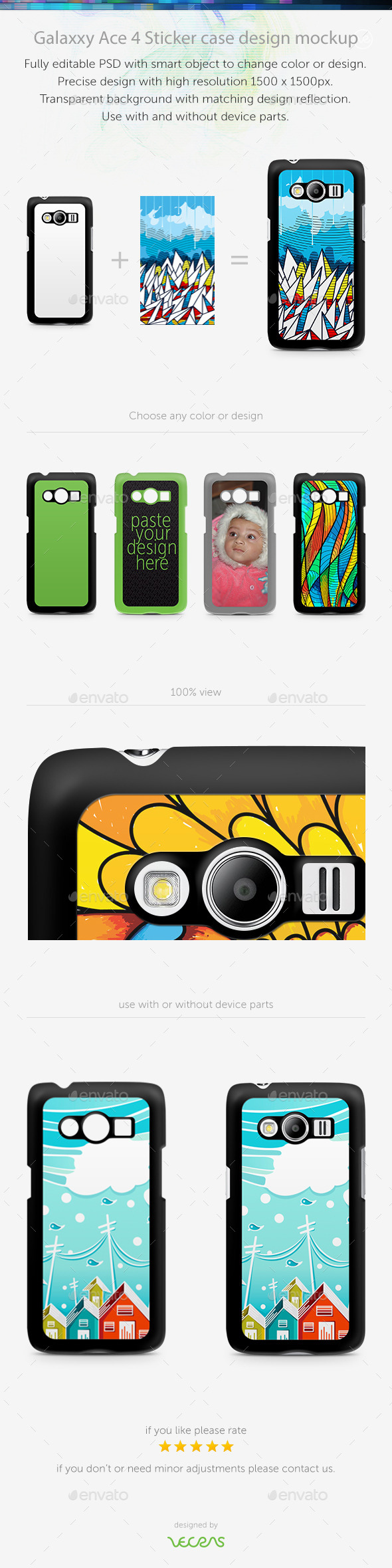Galaxxy Ace 4 Sticker Case Design Mockup
