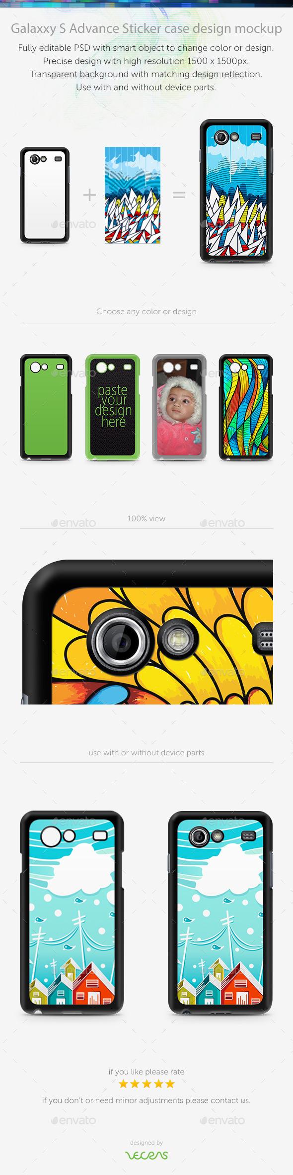 Galaxxy S Advance Sticker Case Design Mockup