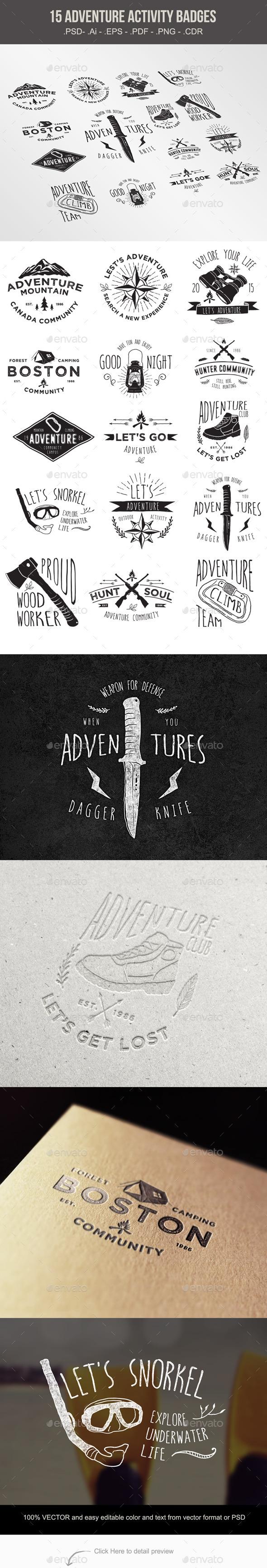 15 Adventure Activity Badges - Sports/Activity Conceptual