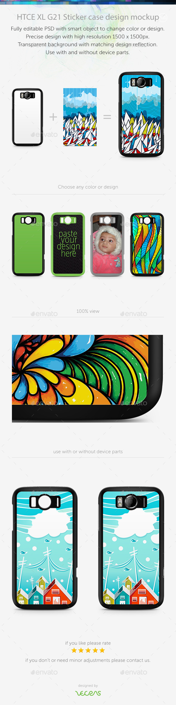 HTCE XL G21 Sticker Case Design Mockup