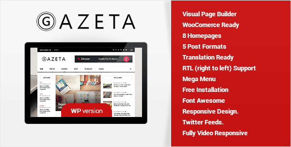 Gazeta – A Magazine & News WordPress Theme