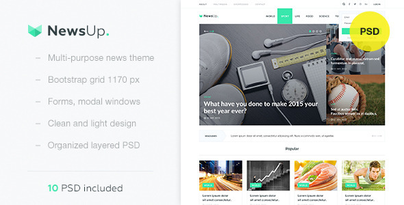 NewsUp — Multi-purpose News PSD Template