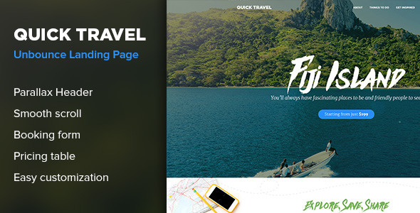 QuickTravel – Responsive Unbounce Landing Page
