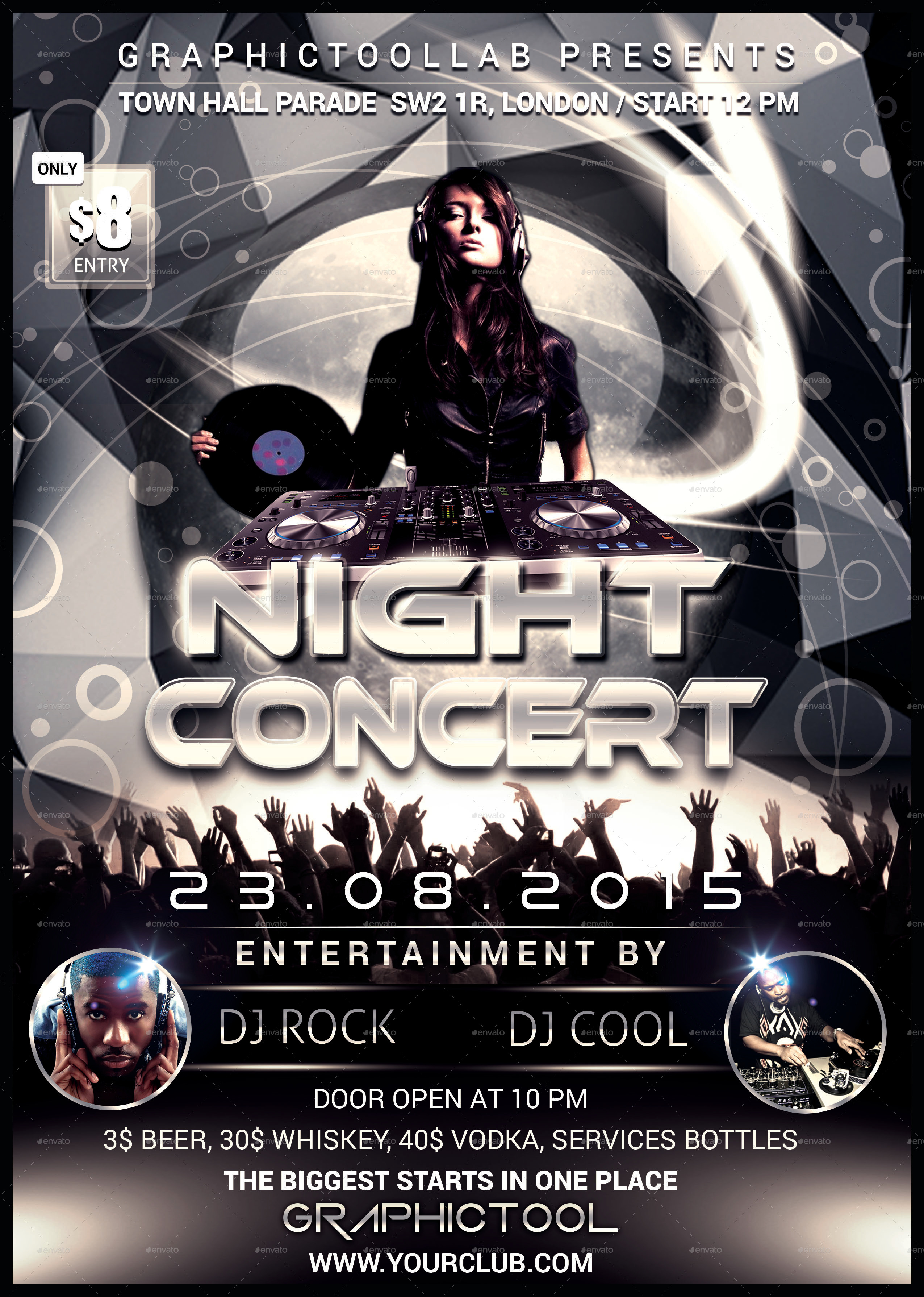 Night Concert Flyer/Poster Template by Graphictool | GraphicRiver