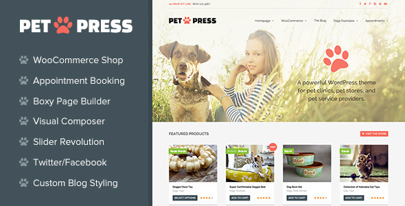 PetPress - A Pet Shop/Services Theme for WordPress - Retail WordPress