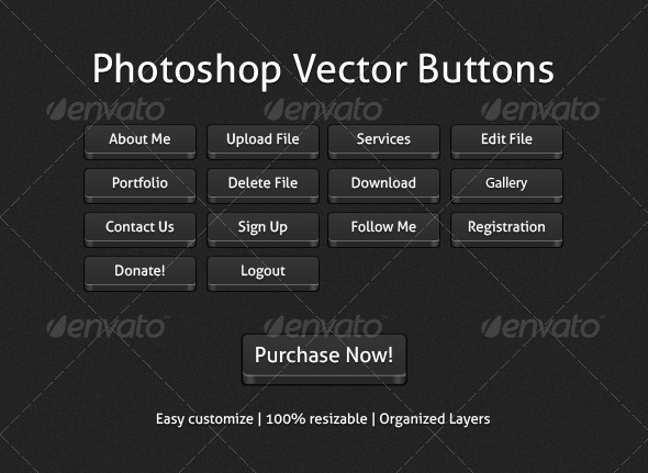 Photoshop Vector Buttons - Buttons Web Elements