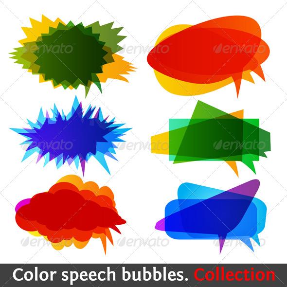 Color speech bubbles collection eps10 - Web Elements