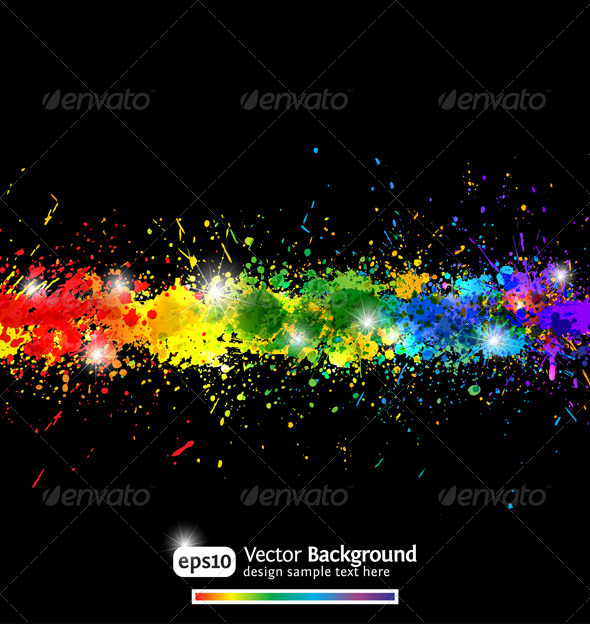 Colorful gradient paint splashes vector background - Backgrounds Decorative