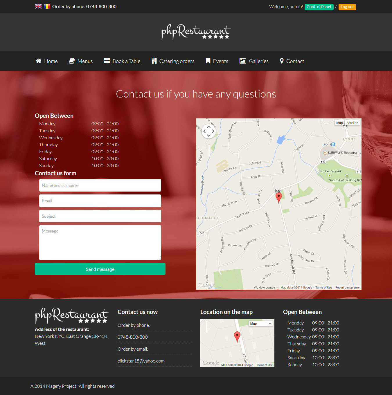 PhpRestaurant Restaurant Script With CMS By Cristianstan - Bootstrap contact us page with map